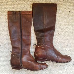 Børn Born tall flat brown zip leather boots 7.5